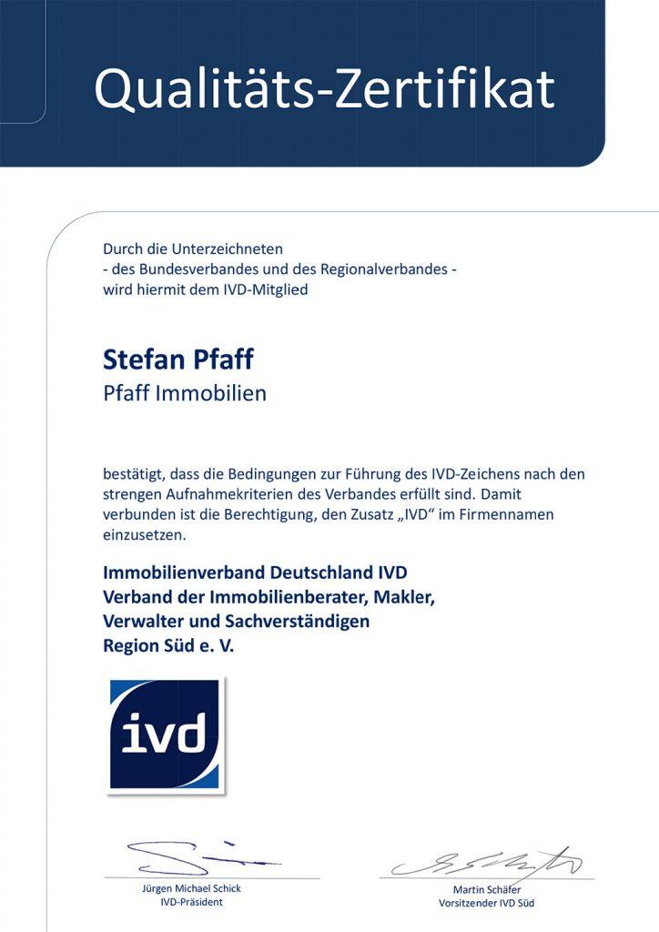 Qualitätszertifikat Stefan Pfaff
